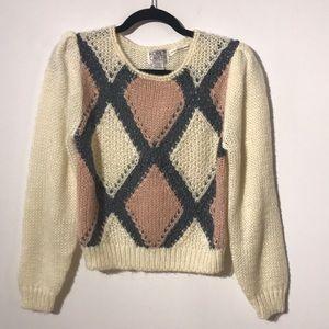 Vintage Koret puff sleeve diamond print sweater